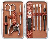 Маникюрный набор Zinger MSFE-101 (коричневый чехол c серебристым инструментом) -