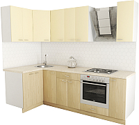 Готовая кухня Хоум Лайн Луиза Люкс 1.2x2.5 (флитвуд шампань/ваниль) -