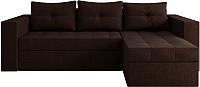 Диван угловой Настоящая мебель Константин рогожка правый (коричневый) -