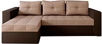 Диван угловой Настоящая мебель Константин экокожа/рогожка левый (коричневый/бежевый) -
