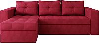 Диван угловой Настоящая мебель Константин вельвет левый (красный) -