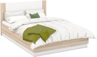 Двуспальная кровать Империал Аврора 160 с подьемным механизмом (дуб сонома/белый) -