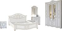 Комплект мебели для спальни Империал Александрина без ОМ ШК-4 (белый/золото) -