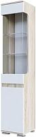 Шкаф-пенал с витриной SV-мебель Гостиная Нота 25 со стеклом (дуб сонома/белый глянец) -