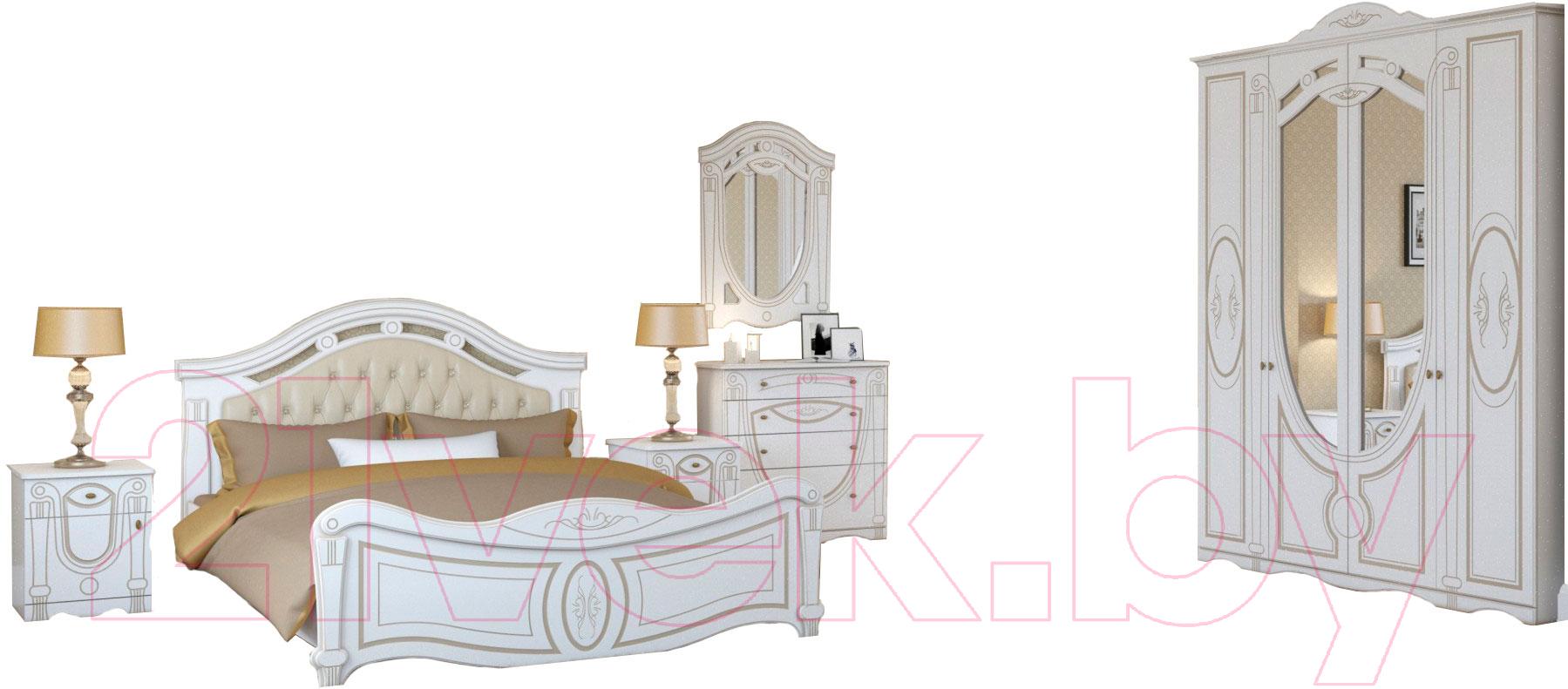 Купить Комплект мебели для спальни Империал, Александрина без ОМ ШК-4 МИ (белый/золото), Россия