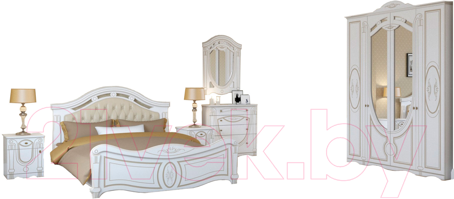 Купить Комплект мебели для спальни Империал, Александрина с ОМ ШК-4 (белый/золото), Россия