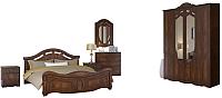 Комплект мебели для спальни Империал Александрина без ОМ ШК-4 (орех/золото) -