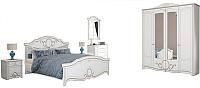 Комплект мебели для спальни Империал Барбара с ОМ ШК-4 (белый/золото) -