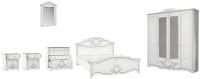 Комплект мебели для спальни Империал Барбара без ОМ ШК-4 (белый/серебристый) -