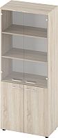 Шкаф с витриной Славянская столица Б-8.1912.1 со стеклом (дуб сонома) -