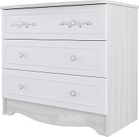 Комод SV-мебель Акварель 1 3 ящика (ясень анкор светлый/белый матовый/цветы) -