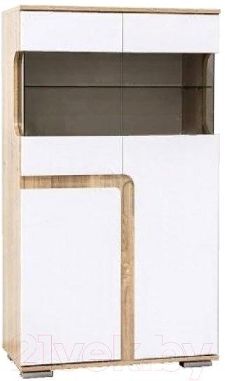 Купить Шкаф с витриной SV-мебель, Гостиная Нота 25 малая (дуб сонома/белый глянец), Россия