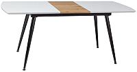 Обеденный стол Signal Davos 140 (белый лак/дуб/черный матовый) -