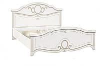 Двуспальная кровать Империал Барбара с ламелями (белый/золото) -