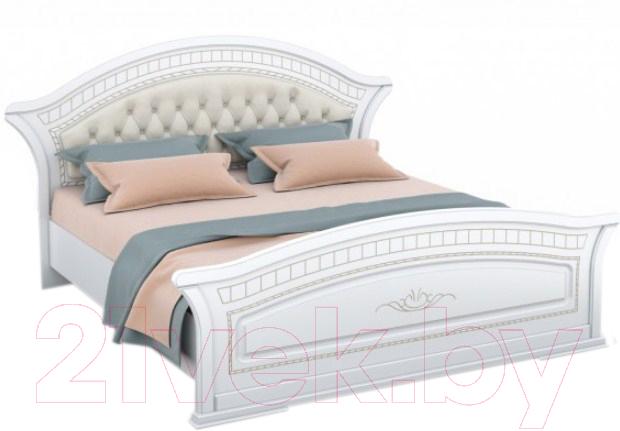 Купить Двуспальная кровать Империал, Диана с ламелями МИ (белый/золото), Россия