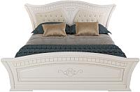 Двуспальная кровать Империал Каролина с ламелями МИ 160 (белый/золото) -