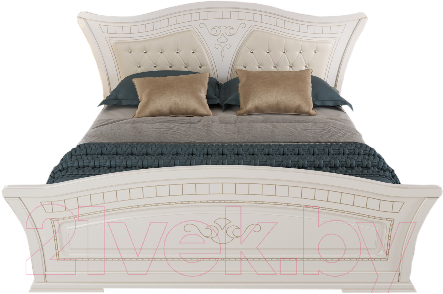 Купить Двуспальная кровать Империал, Каролина с ламелями МИ 180 (белый/золото), Россия