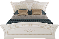 Двуспальная кровать Империал Каролина с ламелями МИ 180 (белый/золото) -