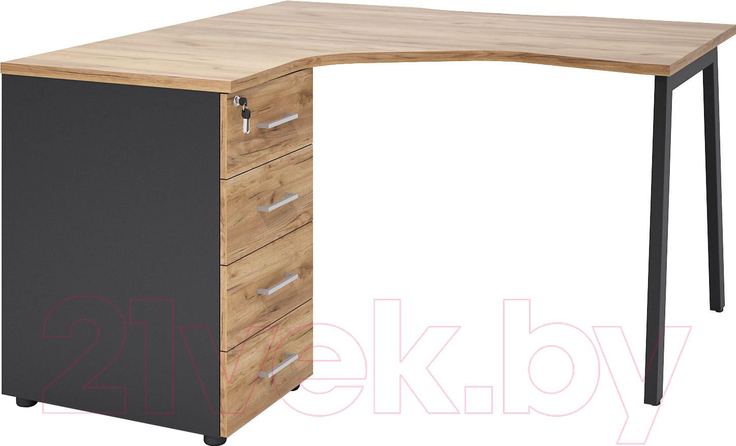 Купить Письменный стол Involux, Матрикс 121S130 (дуб натюрель-черный/черный), Беларусь