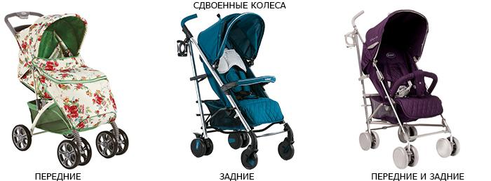 удвоенные колеса в детской коляске